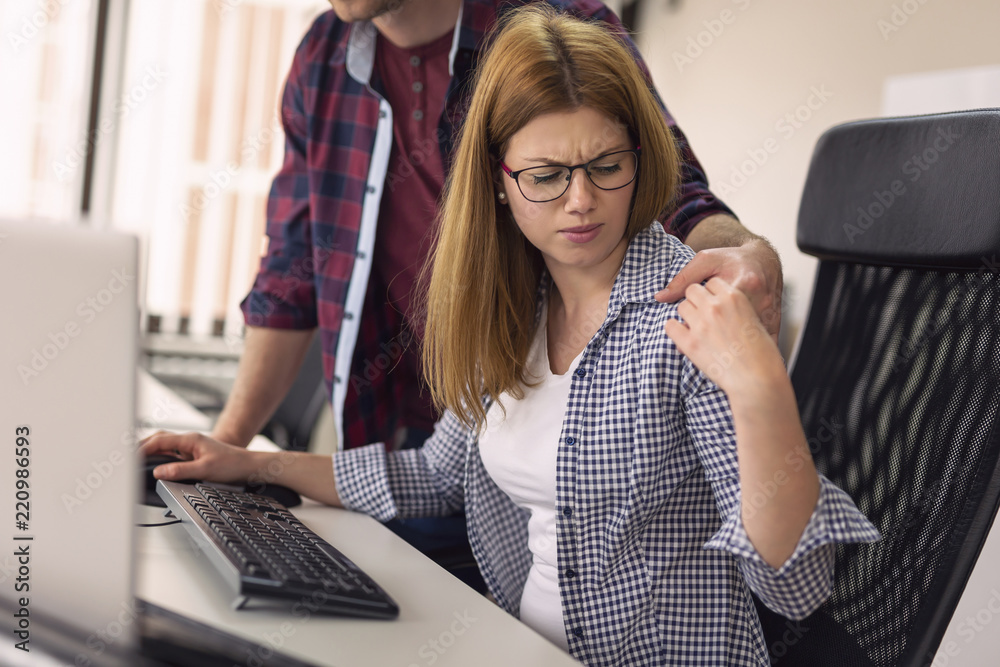 Fototapety, obrazy: Woman being sexually harassed at work