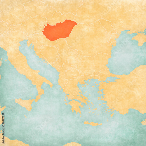 Map of Balkans - Hungary Tablou Canvas