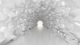 Fototapeta Room - White tunnel and light. 3d illustration, 3d rendering.