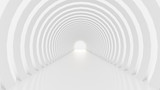 Fototapeta Perspektywa 3d - White tunnel and light. 3d illustration, 3d rendering.