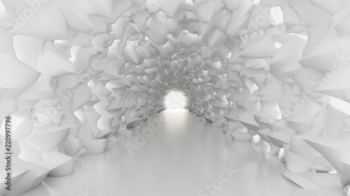 bialy-tunel-i-swiatlo-3d-ilustracja-3d-rendering