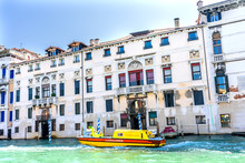 Yellow Canal Colorful Grand Canal Venice Italy