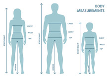 Silhouttes Of Man, Women And Boy In Full Length With Measurement Lines Of Body Parameters . Man, Women And Child Sizes Measurements. Human Body Measurements And Proportions.