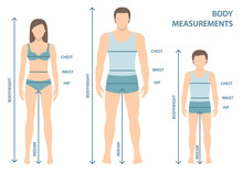Vector Illustration Of Man, Women And Boy In Full Length With Measurement Lines Of Body Parameters . Man, Women And Child Sizes Measurements. Human Body Measurements And Proportions. Flat Design.