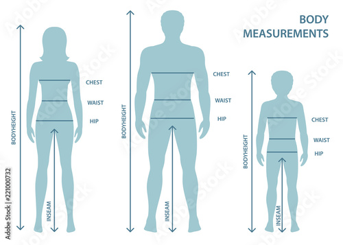 Leinwand Poster Silhouttes of man, women and boy in full length with measurement lines of body parameters