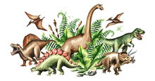 Group Of Dinosaurs With Prehis...