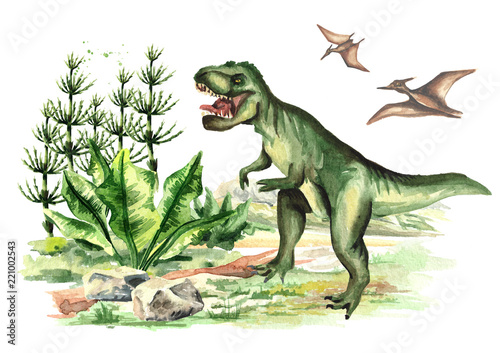 Dinosaur Tyrannosaurus and Pterodactyl  in prehistorical landscape Canvas Print