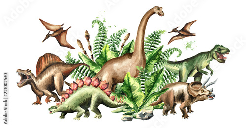 Photo Group of dinosaurs with prehistoric plants