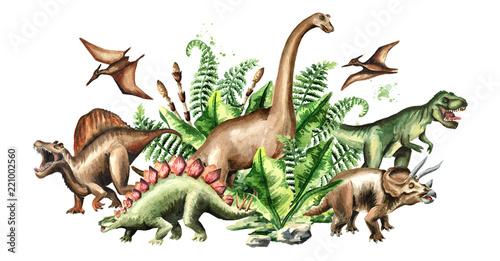 Fotografie, Obraz  Group of dinosaurs with prehistoric plants