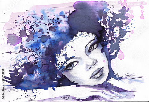 Photo sur Aluminium Inspiration painterly Watercolor illustration depicting a fancy woman's portrait.