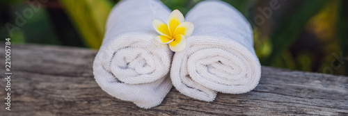 Photo hotel amenities kit spa, soap, shampoo, towels BANNER, long format