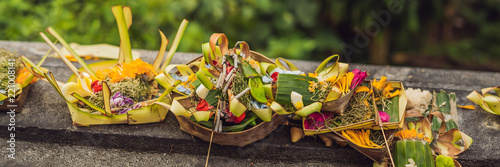 Photo Balinese Hindu Offerings Called Canang