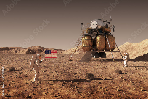 Photo Astronauts Set An American Flag On The Planet Mars