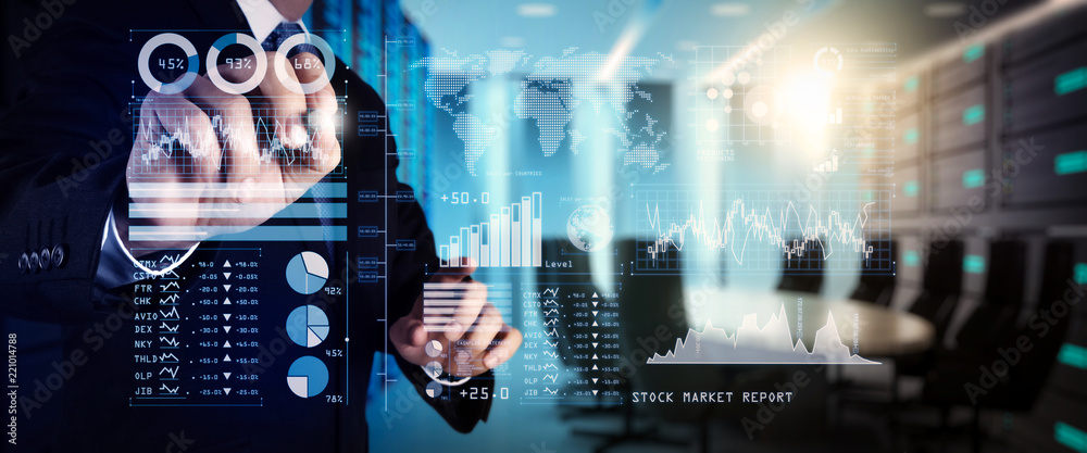 Fototapeta Investor analyzing stock market report and financial dashboard with business intelligence (BI), with key performance indicators (KPI).businessman hand working with finances