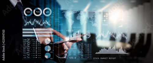Investor analyzing stock market report and financial dashboard with business intelligence (BI), with key performance indicators (KPI) Poster Mural XXL
