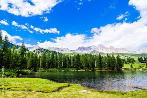 San Pellegrino lake in the Italian Dolomites