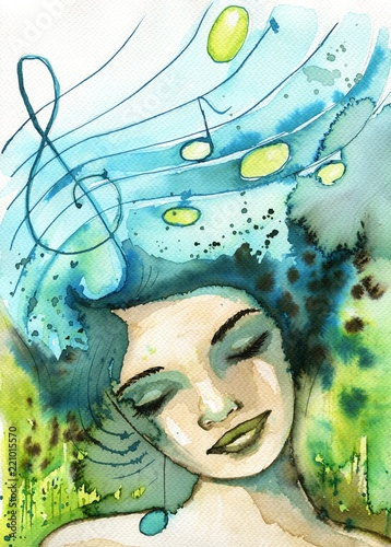 Poster de jardin Inspiration painterly Watercolor illustration depicting a fancy woman's portrait.