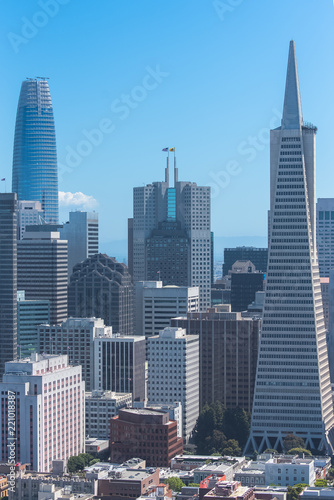 Staande foto Stad gebouw San Francisco, aerial view of Financial District downtown
