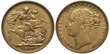 Great Britain British Golden Coin 1 One Sovereign 1871, Younger Head Of Queen Victoria, St George On Horse Killing Dragon, Date Below,
