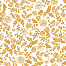 Winter Seamless  Pattern With Holly Berries. Part Of Christmas Backgrounds Collection. Can Be Used For Wallpaper, Pattern Fills, Surface Textures,  Fabric Prints.