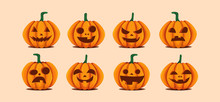 Halloween Pumpkins In Vector With Set Of Different Faces For Icons And Decorations In Bright Orange Background. Vector Illustration.