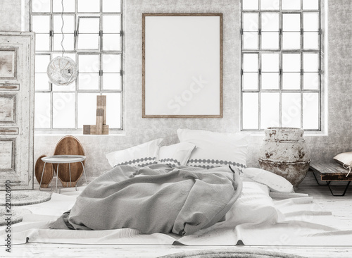 Fotografie, Obraz  Mock-up poster in shabby interior background, Scandinavian style, 3d render