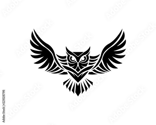 Canvas Prints Owls cartoon Owl logo - vector illustration. Emblem design on white background