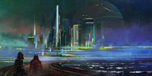 Painted A Fantastic Night City Of Megapolis In The Style Of Cyberpunk