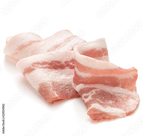 Fotografie, Obraz  sliced pork bacon isolated on white background cutout