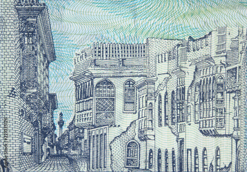 Old Baghdad on Iraqi 100 dinar (2002) banknote closeup, Iraq money close up.