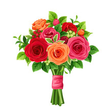 Vector Bouquet Of Red And Orange Roses And Green Leaves.