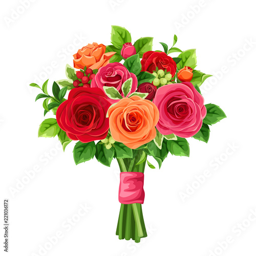 Foto Vector bouquet of red and orange roses and green leaves.