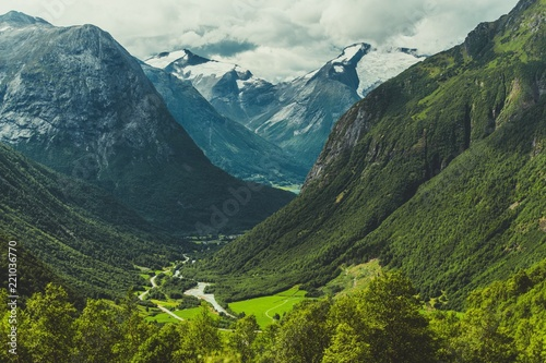 Wall Murals Green blue Scenic Norwegian Landscape