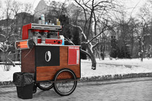 Street Drinks And Coffee Cart On Wheels In Central Park Of New York In Winter In Bw Style