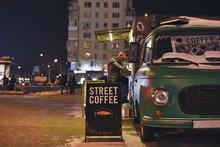 Coffee On Wheels In Winter Night On Street In HDR