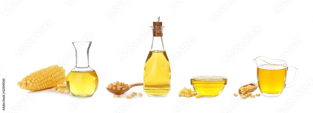 Fototapety, obrazy: Set with fresh corn oil on white background