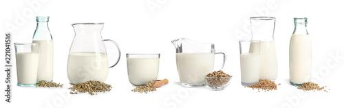 Obraz na plátne  Set with non-dairy vegan hemp milk on white background