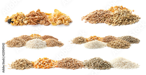 Poster Graine, aromate Set with different cereal grains on white background