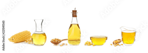 Set with fresh corn oil on white background