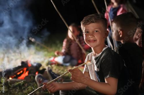 Little boy with marshmallow near bonfire at night. Summer camp