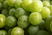 Bunch Of Green Fresh Ripe Juicy Grapes As Background. Closeup View