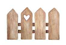 Decorative Brown Wooden Fence With Cute Small Love Heart Hole. Front View, Arrow Head. Hand Drawn Watercolour Graphic Painting On White, Cutout Clip Art For Design. Positive Rural Countryside Element.