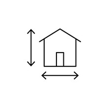 House Size Icon. Element Of Architecture Icon For Mobile Concept And Web Apps. Thin Line House Size Icon Can Be Used For Web And Mobile