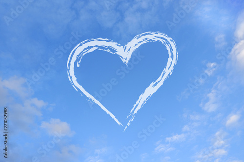Photo Stands Personal White cloud on blue sky, heart-shaped.