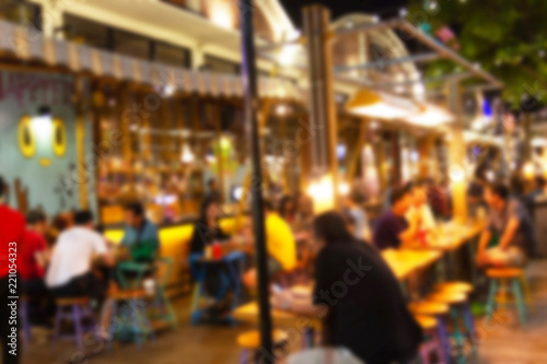 abstract blur image of night festival in a restaurant and The atmosphere is happy and relaxing with bokeh for background, Bangkok Thailand Canvas Print