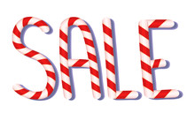 CHRISTMAS SALE, Candy Cane Typographic