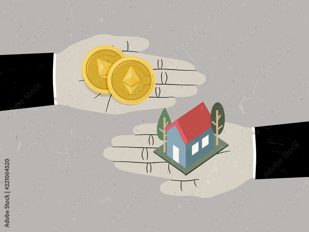 Fototapeta Hands exchanging Ethereum coins for house, using Ethereum coin buy house concept