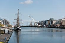 The Samuel Beckett Bridge Over The River Liffey In Dublin, Ireland.