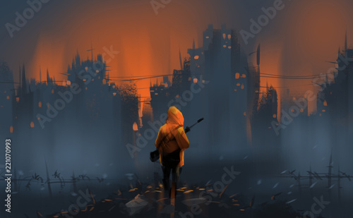 a warrior standing on many ruins against war and building burning, digital illustration art painting design style Wallpaper Mural
