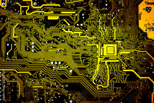 Fotografiet  Electronic circuit boards, computer motherboard,texture and wallpaper